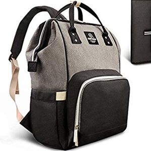 NWT Diaper bag backpack black gray wide daddy